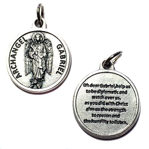 Archangel Gabriel Protect Protection Medal Pendant Charm with Prayer Made in Italy Silver Tone Catholic 3/4