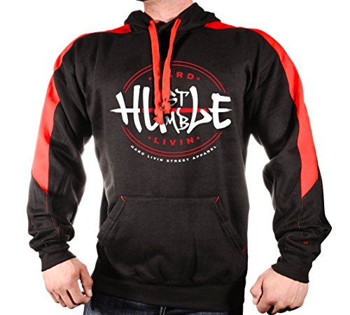Monsta Clothing Co. Men's Premium Hoodie With 3/4 Side-Sleeve Panel Hard Hustle-Humble Livin-10 (Black/Red Side Sleeve, XX-Large)