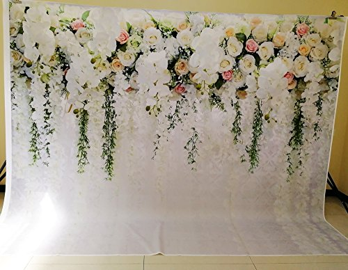 HUAYI 10x8ft White Flower Backdrop Curtain Floral 3d flower Wedding Party Background Photo Backdrop for wedding reception Baby shower Photo Booth Props Xt-6749 by HUAYI (Image #5)