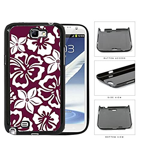 Burgundy Red Hawaiian Floral Pattern Hard Plastic Snap On Cell Phone Case Samsung Galaxy Note 2 II (Samsung Galaxy S5 Cases Hawaii)