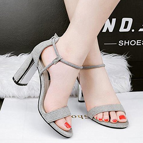 Toe Strap Women's Block Aisun Gray Buckled Stylish Sandals High Suede Faux Open Heel SxXgg0wq4