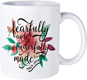 Funny White Coffee Mug, Fearfully And Wonderfully Made Psalm Ceramic Novelty Cup Ideal Gift with Inspirational Sayings Quotes Mug11oz
