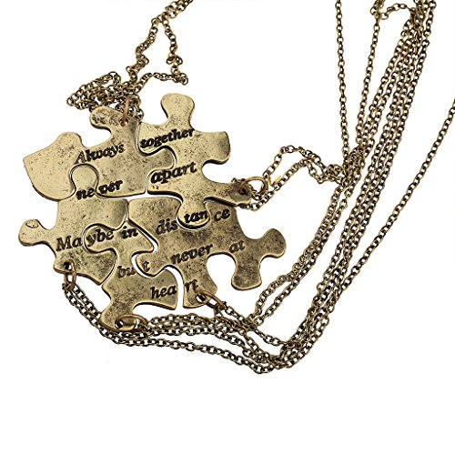 Lux Accessories Burnish Gold Always Together Puzzle Best Friends BFF Necklace -
