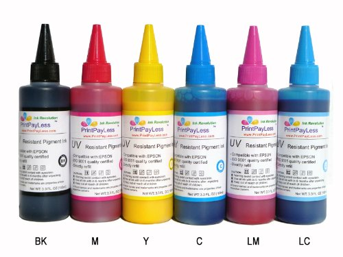 PrintPayLess Brand Archival, Water and Fade Resistant Pigment Ink for Epson 79 (non-OEM) CIS/CISS or refillable cartridges using in Epson Printers: Photo 1400, R1400, Artisan 1430 Printers - 600 ml (20 oz.)