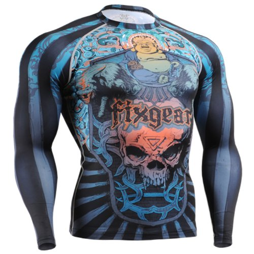 Fixgear Mens Womens MMA Running Skull Printed Compression Shirt Long sleeve Top S ~ 4XL