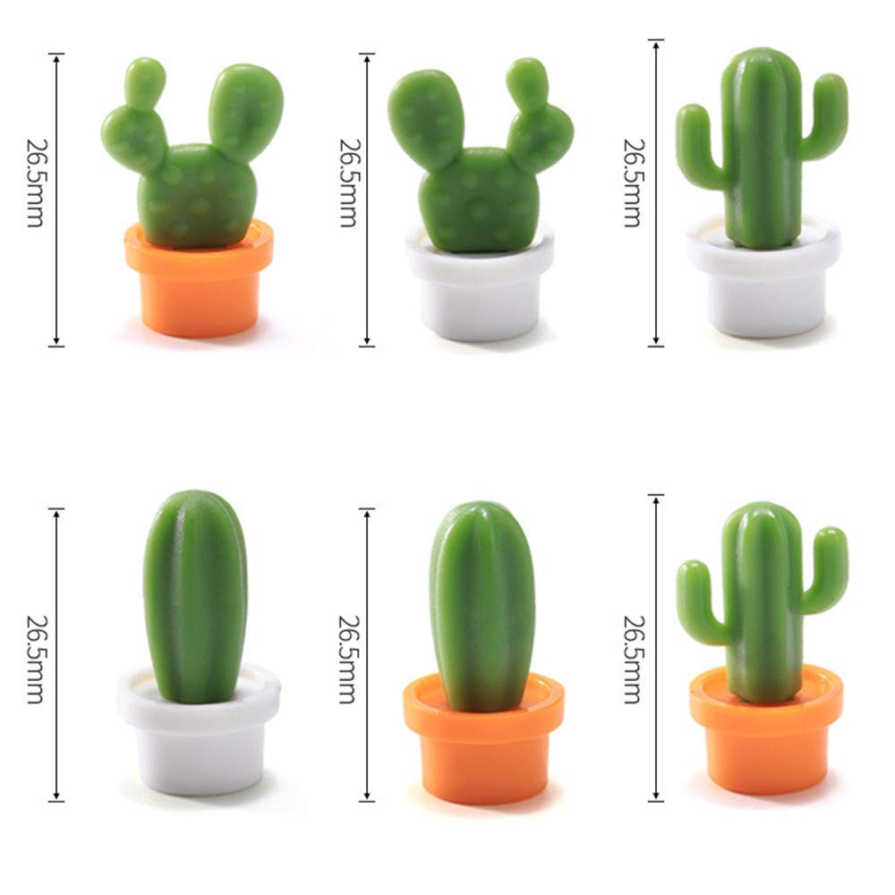 TAOtTAO 6pcs Cute Succulent Plant Magnet Button Cactus Refrigerator Message Sticker Magnet Sticker