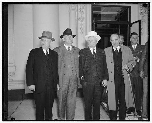 Photo: Congressional leaders,White House,Sam Rayburn,Alvin W Barkley,John Nance,1938