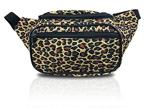 Classic Leopard Print Waist Pack with 3 Pockets