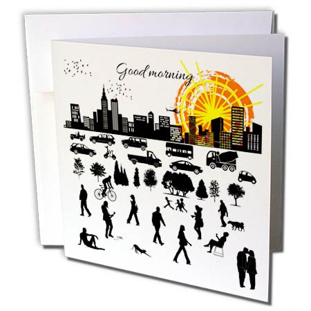 - 3dRose Alexis Design - Positive - Good Morning, City. Buildings, Traffic, People, Sunrise, on White - 12 Greeting Cards with Envelopes (gc_283969_2)