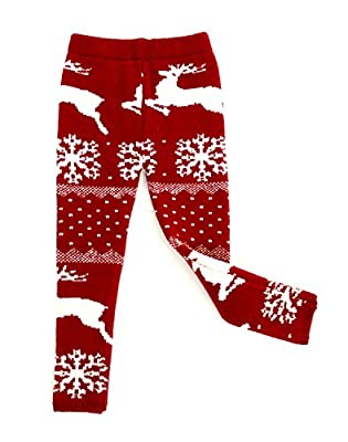 SISSYMINI Santa Baby Wool Knitted Thick Thermal Christmas Legging (12M- 4T)