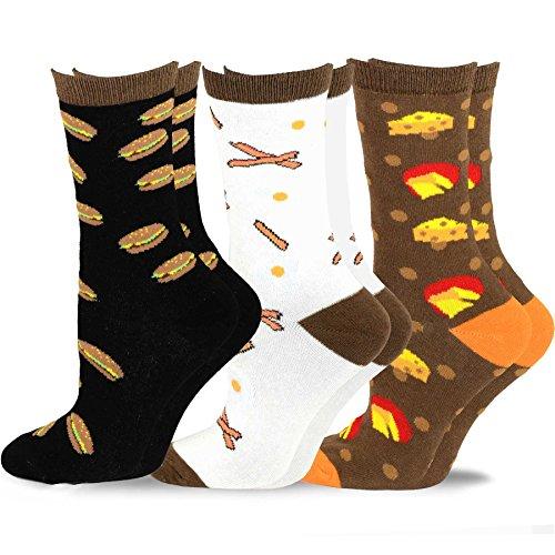 (TeeHee Women's Foods Crew Socks 3-Pack (Bacon and Cheese) )