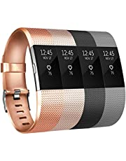 Tobfit Fitbit Charge 2 Armband Weiches TPU Ersetzer Armbänder Fitness Verstellbares für Fitbit Charge 2 (*Rose Gold+Schwarz, Small)