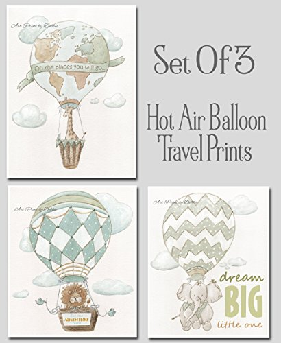 Travel Adventure Hot Air Balloon Personalized Nursery Set Of 3 Watercolor Prints