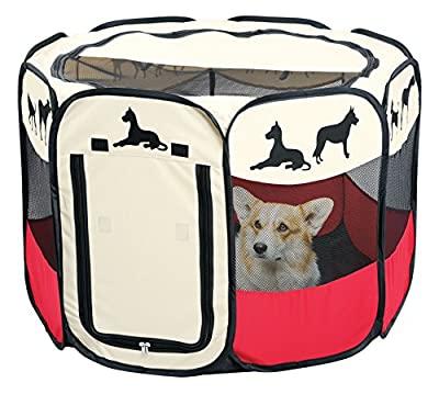 "Portable Pet Playpen Puppy Dog Folding Crate Pen - 36"" x 23"" Fold Up Indoor Outdoor Dog Cat Play Pen - Zippered Top And Door Access With Stakes Included"