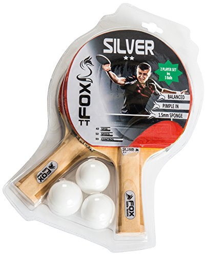 Fox TT Unisex's Silver 2 Star Table Tennis Set, Red