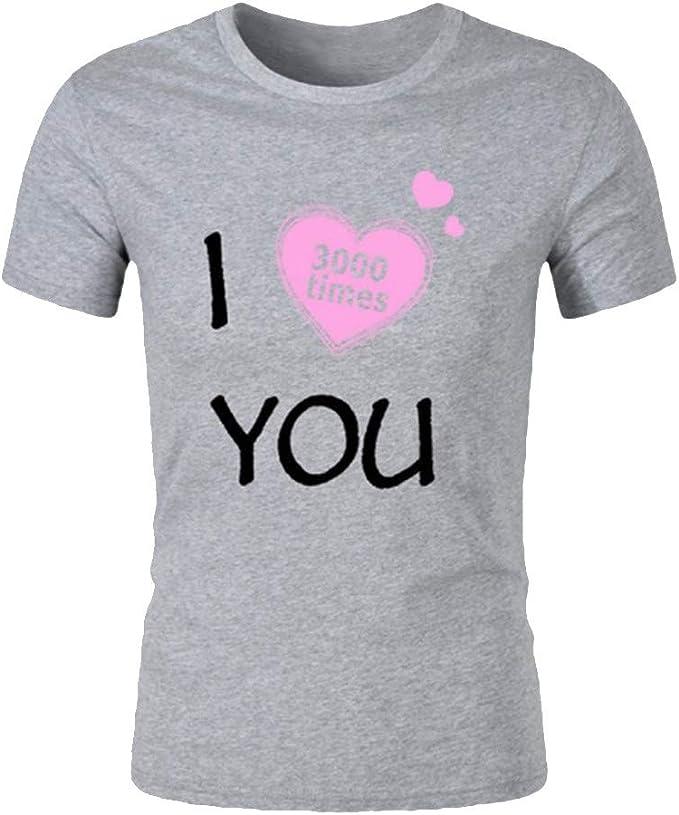 MOTOCO Hombre Camiseta de Manga Corta Top I Love You 3000 Times Letter Print Summer Casual O-Neck Color SóLido de Manga Corta Top(XL, Gris): Amazon.es: Ropa y accesorios