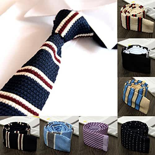 7 Styles Men Knitted Woven Stripe Tie Necktie Narrow Slim Skinny Wedding Suit Business Accessories