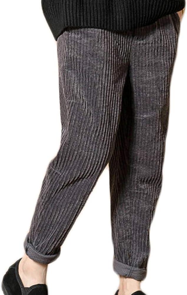 Pantalones Harem Casual de Invierno para Mujeres Pantalones de Pana con Cintura elástica
