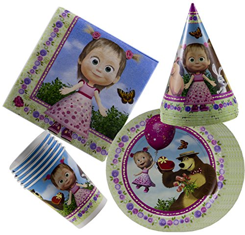 Masha and the Bear Holiday Set for Children Must Have for Party Supplies and Birthday Cristmas New Year's Tableware Colored Napkins Paper Plates Funny Hats Drinking Glasses Masha y el OSO -