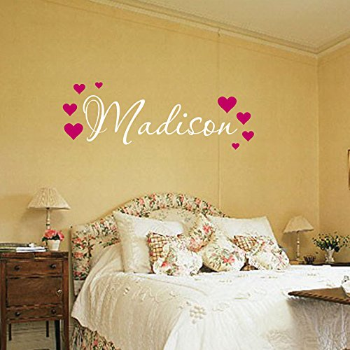 Name Wall Decal - Nursery Wall Decal - Teen Name Wall Decals - Personalized Wall Decals Madison Hearts
