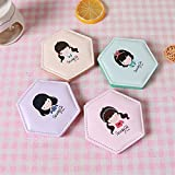 pinjewelr Women's Accessories Deluxe Double Sided PU Leather Little Girl Pattern Hexagon Style Compact Pocket Size Mirrors Random Color