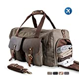 MEWAY Large Multi-Functional Canvas Overnight Bag With Shoes Compartment, Flight Travel Duffel Weekender Bag For Men (BROWN, ✔Genuine Leather)