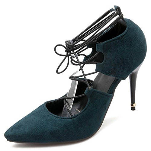 CHFSO Womens Fashion Pointed Toe Strappy Lace Up Stilettos Pumps Shoes Green W8VBx0SrPm