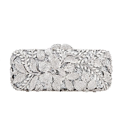 Fawziya Flower Purses For Girls Bling Rhinestone Crystal Clutch Bag-Silver (Girls Silver Bag)