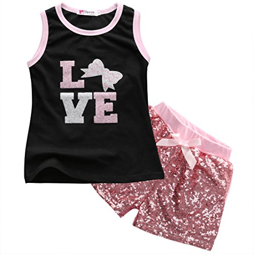 Little Girls Sleeveless Letters Bowknot Tank Top and Sequined Shorts Outfit (120(5-6Y))
