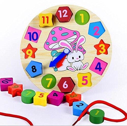 Elloapic Wooden Rabbit Children's Teaching Clocks Time Learning Wooden Shape Sorting Shape (Wooden Teaching Clock)