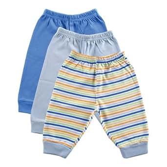 Luvable Friends 3-Pack Baby Pants, Blue, 0-3 months