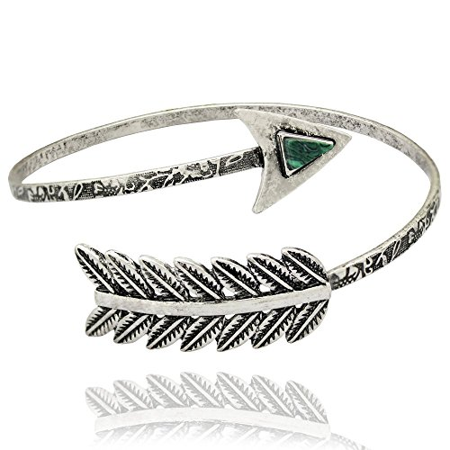 Q&Q Fashion Fab Silver Arrow Feather Green Stone Costume Bracelet Upper Arm Cuff Armlet (Paparazzi Costumes)
