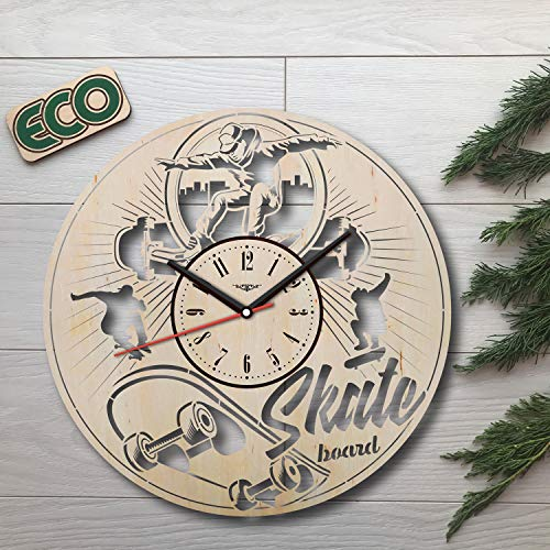 Skate Shop Atomic - Skateboarding Wall Clock - Battery Operated Non Ticking Clocks - Wood Modern Wall Decor - Kitchen Office Bedroom Decorative Clocks - Custom Gift Birthday Christmas Anniversary - Size 12 Inch