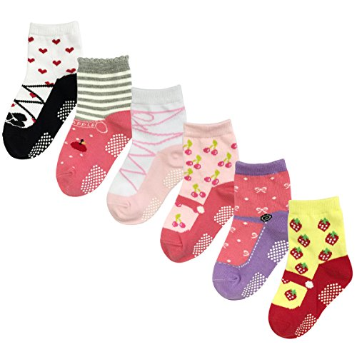 Wrapables Juicy Fruits Mary Jane Non-Skid Socks (Set of 6), Set 1 (Mud Pie Strawberry compare prices)