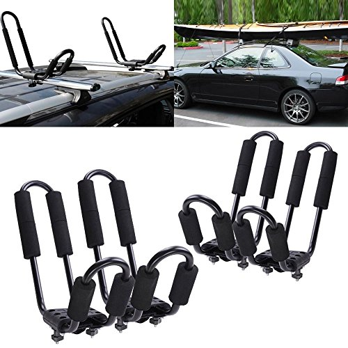 GHP 2 Pairs of J-Shape 1.2mm Steel Tubing Kayak Rack w Tie Down Straps & Safe Ropes by Globe House Products