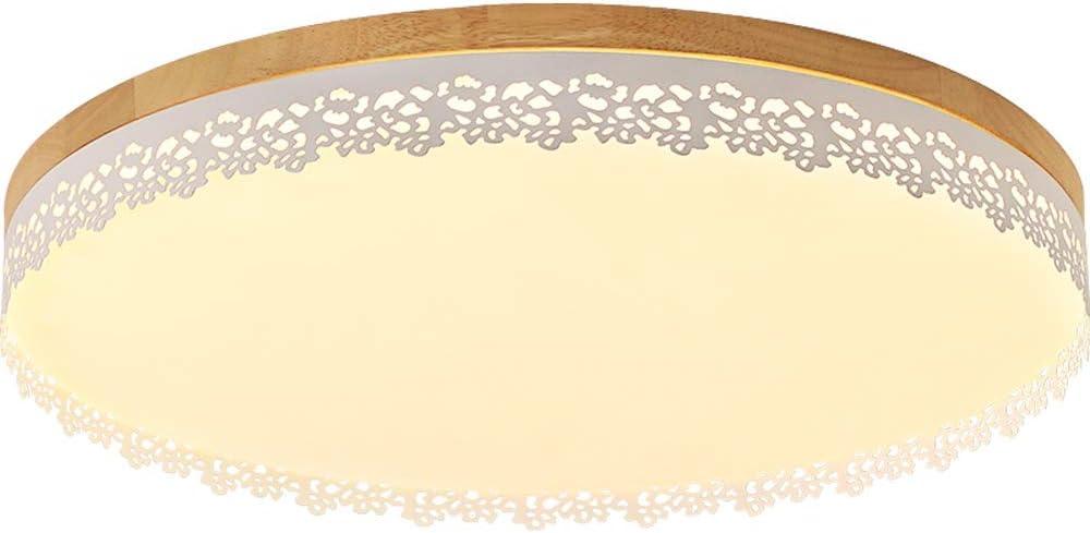 Aiqiyi Plafonnier Nordique en Bois Massif Minimaliste Moderne Rond mené Petit plafonnier plafonnier luminaire Moderne pour Couloir, étude, Salon lumière Blanche (Taille : 37×37×6cm)