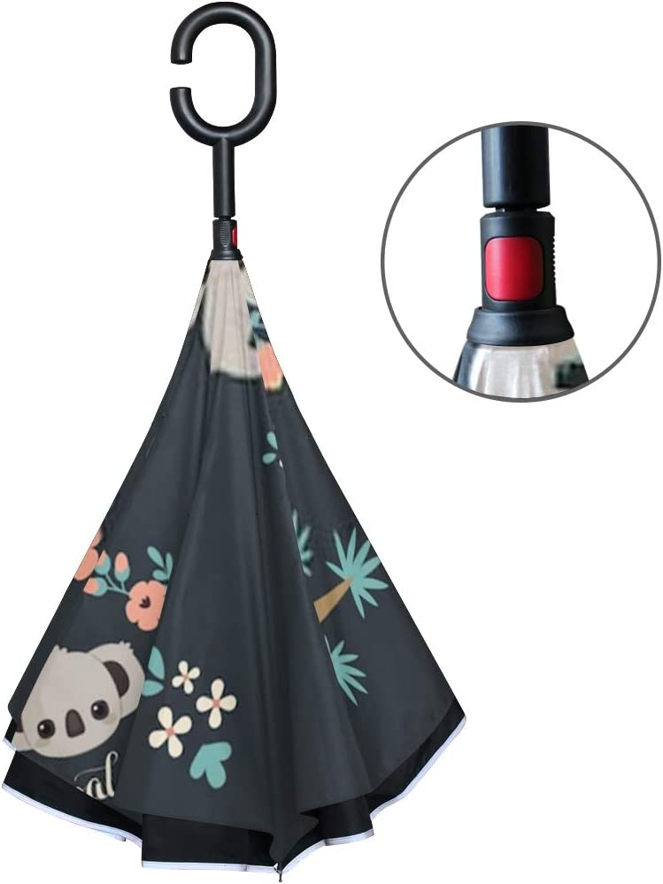 Double Layer Inverted Inverted Umbrella Is Light And Sturdy Cute Koala Different Poses Climbing On Reverse Umbrella And Windproof Umbrella Edge Night