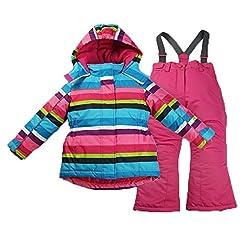 M2C Girls Thicken Warm Hooded Striped Sk...