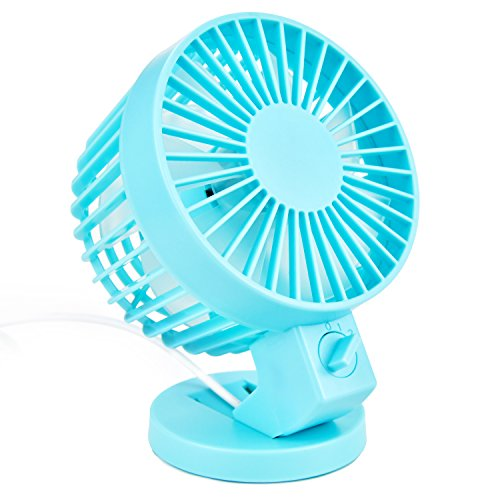 Votones Office Electric Usb Fan, Portable Cooling Fan with 2 Grade Wind Power,Handled Mini USB Clip Desk Fan Compatible for Notebook,Computer and Power Bank(Blue) by Votones