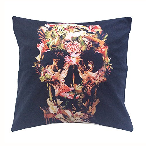 "Monkeysell 3D printing ,super soft white flannel fabrics Square Decorative Fashion Throw Pillow Case Cushion Cover-Black White Skull 18 ""X18 "" (B)"