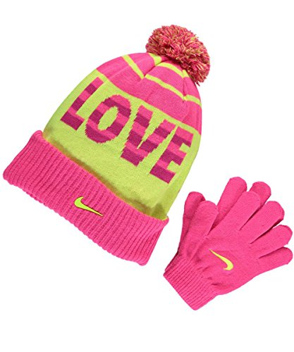 """Price comparison product image """"LOVE TO WIN"""" Girl's 2 Pc Set Swoosh Pom Hat & Gloves Sz 7/16 Hyper Pink By NIKE"""