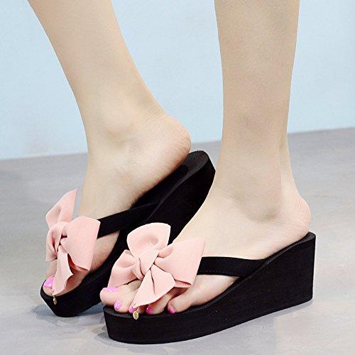 Donne da Infradito Moda Pantofole Dolci Casual E con Shoes Spiaggia Romani rosa delle di Arco Suola Spessa Cunei Sandali Estate CHENGXIAOXUAN Scarpe Tacchi La 86UUES