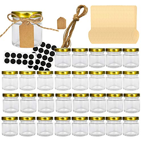 (Folinstall 30 Pcs 1.5 oz Glass Jars with Gold Lids, Mini Mason Jars for Gifts, Crafts, Wedding, Spice, Extra 15 Silver Lids, Chalkboard Labels, Tags String and 30 Disposable Wooden)
