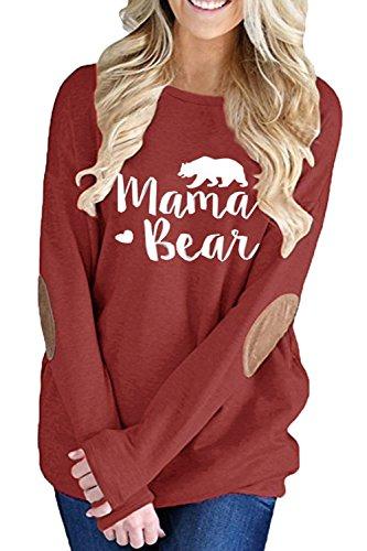 ALBIZIA Women's Casual Crew Neck Mama Bear Elbow Patch Sweatshirt 2XL Wine ()