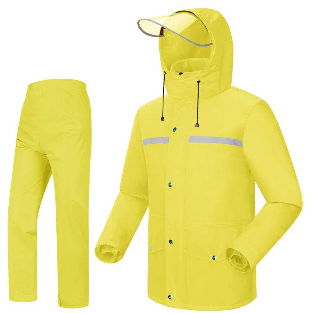 Geyao Regenmantel Regen Hosen Set atmungsaktives Mesh Doppel Männer und Frauen Wiederverwendbare Regenkleidung Motorrad Elektroauto Regenmantel Split Poncho gelb