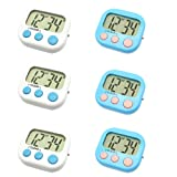 6 Pack Digital Timer for Teacher Small Timers for Kids Magnetic Back Big LCD Display Loud Alarm Minute Second Count Up Countdown With ON/OFF Switch Fo