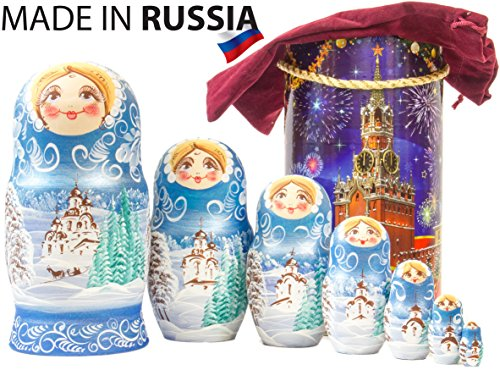 Russian Nesting Doll - Winter`s Tale - Hand Painted in Russia - Moscow Kremlin Gift Box - Wooden Decoration Gift Doll - Traditional Matryoshka Babushka (8`` (7 Dolls in 1), Blue) ()