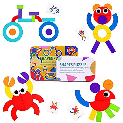 Bozhiyi Creative Animals Jigsaw Puzzle Toy, Wooden Shapes Puzzle Pattern Blocks Sorting and Stacking Games Educational Toys for Toddlers Kids 3+ Year Old(A) by Bozhiyi