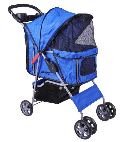 MDOG2 MK0034 4-Wheel Front and Rear Entry Pet Stroller, Blue