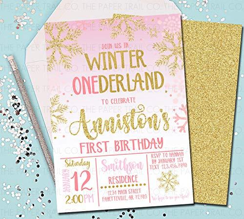 Winter ONEderland Invitations 1st Birthday Invitations Winter Wonderland Pink and Gold First Birthday Snowflakes 5x7 ()
